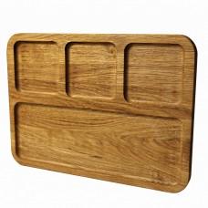 Менажница деревянная TreeVeru прямоугольная на 4 отделения 40х30х2 см (дуб)