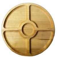 Менажница деревянная TreeVeru круглая на 5 отделений Ø30 см (ясень)