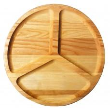 Менажница деревянная TreeVeru круглая на 3 отделения Ø30 см   (ясень)