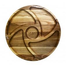 Менажница деревянная TreeVeru круглая на 5 отделений Инь Ян Ø35 см  (ясень)