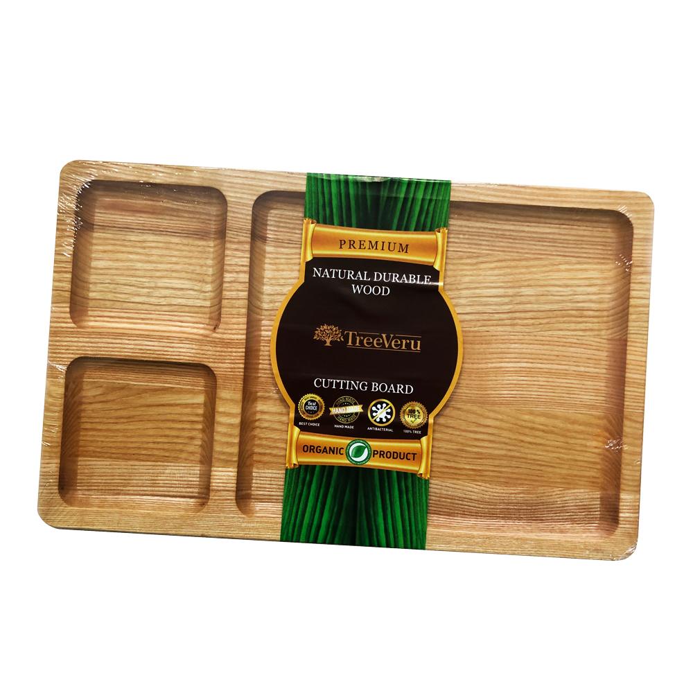 Менажница деревянная TreeVeru прямоугольная на 3 отделения 25х40х2 см ( ясень)